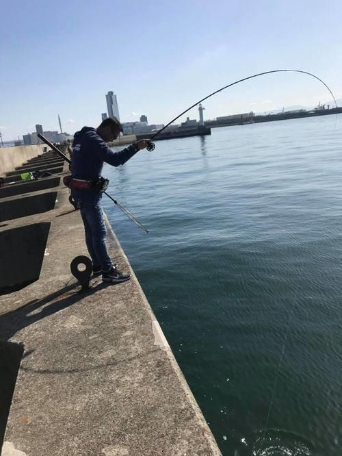 スリット ヤイタ 釣り人 男性 釣り竿 青空 海 写真