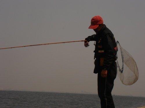 釣り人 男性 釣り竿 タモ 海 写真