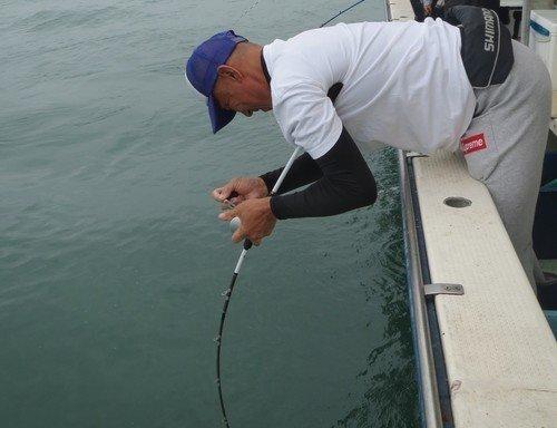 釣り人 男性 釣り竿 釣船 写真