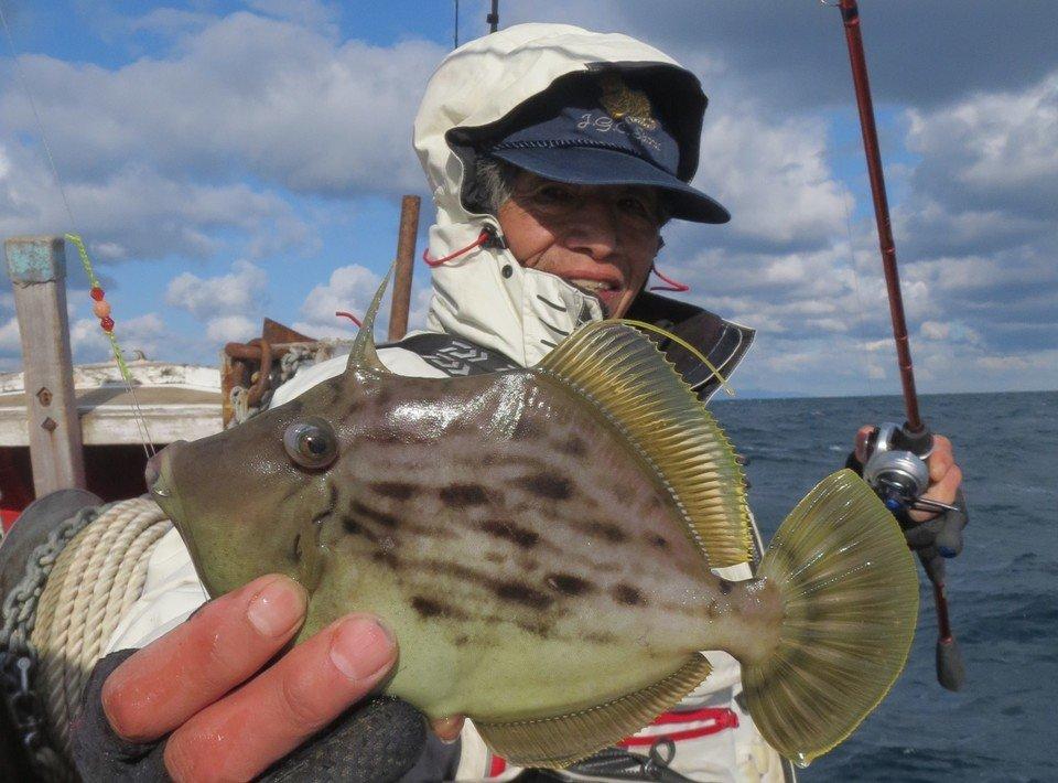 カワハギ 釣り人 男性 釣り竿 釣船 海 空 写真