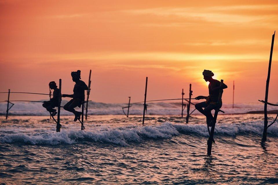 釣り 人影 海 夕日 写真