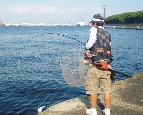 釣り人 男性 釣り竿 タモ 海 埠頭 写真