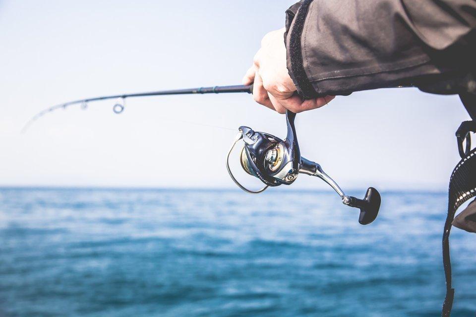 釣りをする男性の手元の写真。