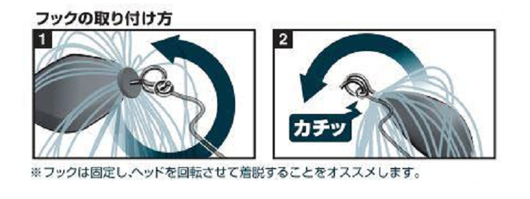 フックの付け方の図解
