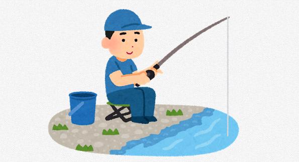 釣りを楽しんでいる人のイラスト