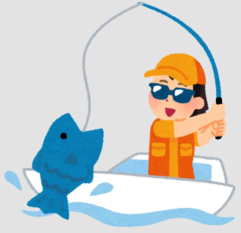 船釣りを楽しんでいるイラスト
