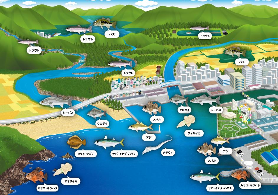 オカッパリで釣れる対象魚のイラストマップ