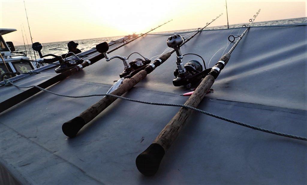ロッドと釣り人の写真