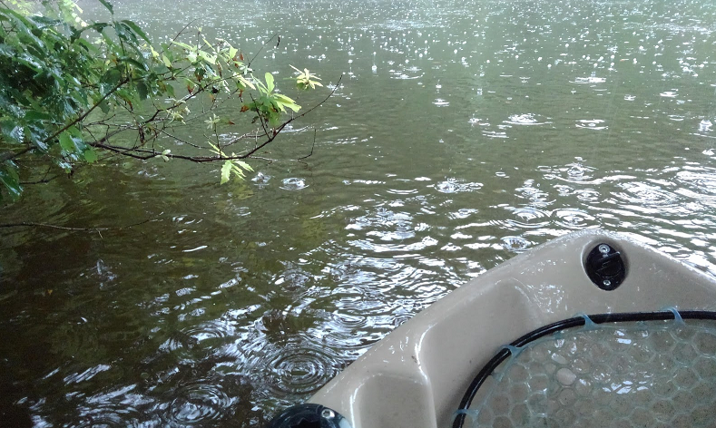 水面とカヤックのアップ写真
